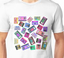 Retro 80's 90's Neon Patterned Cassette Tapes Unisex T-Shirt
