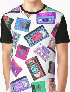 Retro 80's 90's Neon Patterned Cassette Tapes Graphic T-Shirt