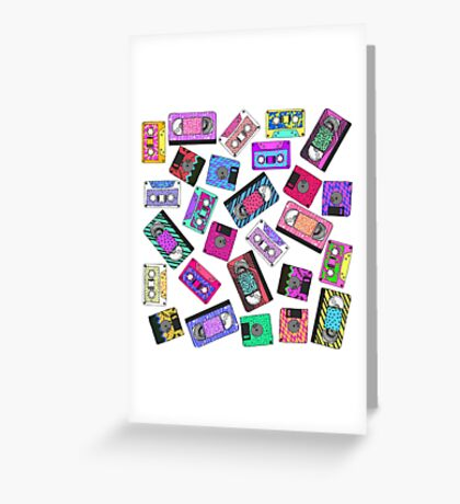 Retro 80's 90's Neon Patterned Cassette Tapes Greeting Card