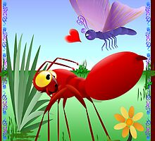 Fire Ant and Purple Butterfly-Love is in the air. by Lotacats