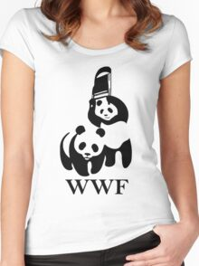 wwf panda wrestling Women's Fitted Scoop T-Shirt
