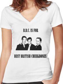 BEST BRITISH CHEEKBONES 1.2 Women's Fitted V-Neck T-Shirt