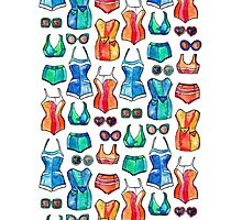 Sixties Swimsuits and Sunnies on white Photographic Print