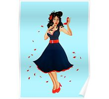 Retro Pinup Autumn Girl Poster