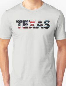 TEXAS AMERICAN FLAG DALLAS HOUSTON FORT WORTH WACO SAN ANTONIO AUSTIN EL PASO TYPOGRAPHY Unisex T-Shirt