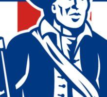 American Patriot Holding Bayonet Rifle Shield Retro Sticker