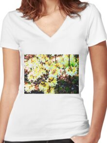 Yellow Tops Women's Fitted V-Neck T-Shirt