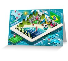 Isometric Infographic of Brazil on Tablet Greeting Card