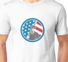Soldier Military Serviceman Holding Rifle Circle Retro Unisex T-Shirt