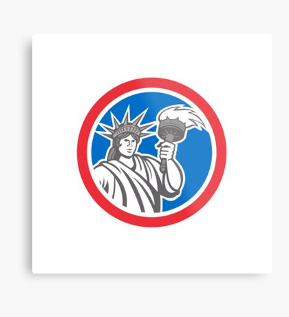 Statue of Liberty Holding Flaming Torch Circle Retro Metal Print