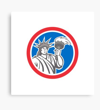 Statue of Liberty Holding Flaming Torch Circle Retro Canvas Print
