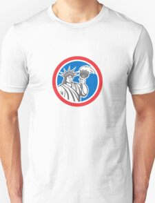 Statue of Liberty Holding Flaming Torch Circle Retro Unisex T-Shirt