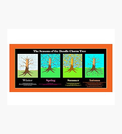 The Seasons of the Doodle Charm Tree Photographic Print