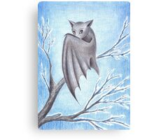 lonely bat in cold winter Canvas Print