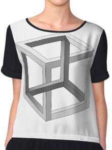 Impossible Cube Optical Illusion  Chiffon Top