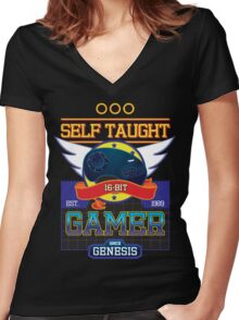 Self Taught Gamer of the 16-Bit Era Women's Fitted V-Neck T-Shirt