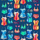 Sixties Swimsuits and Sunnies on dark blue by micklyn