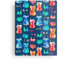 Sixties Swimsuits and Sunnies on dark blue Metal Print
