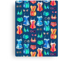 Sixties Swimsuits and Sunnies on dark blue Canvas Print