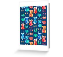 Sixties Swimsuits and Sunnies on dark blue Greeting Card