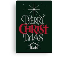 Ugly Christmas Sweater Greeting Card - Religious Christian - Merry Christ Mas Canvas Print