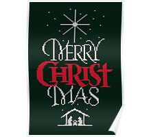 Ugly Christmas Sweater Greeting Card - Religious Christian - Merry Christ Mas Poster