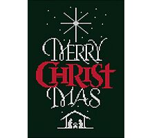 Ugly Christmas Sweater Greeting Card - Religious Christian - Merry Christ Mas Photographic Print
