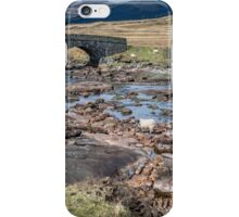 Sheep, river, mountains and a bridge iPhone Case/Skin