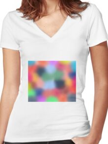Colored Blurry Dot Pattern Women's Fitted V-Neck T-Shirt