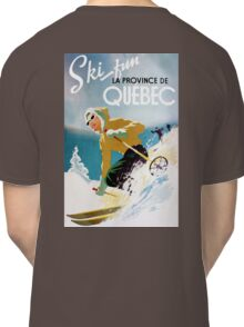 Vintage ski poster, woman skiing in Quebec Classic T-Shirt