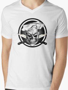 Chef Skull Black 3 Mens V-Neck T-Shirt