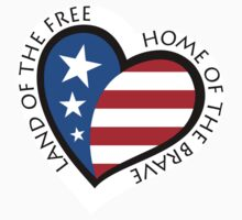 Land of the free, home of the brave american patriotic heart by Mhea