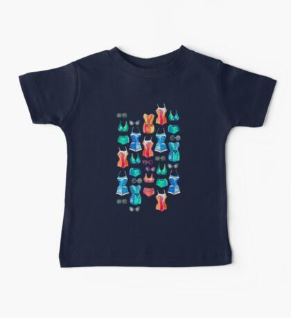 Sixties Swimsuits and Sunnies on dark blue Baby Tee