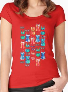 Sixties Swimsuits and Sunnies on dark blue Women's Fitted Scoop T-Shirt
