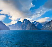 Milford Sound, New Zealand on a Sunny Day by Ben  Cadwallader