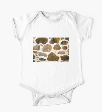 Interior Brown Stone Wall Texture One Piece - Short Sleeve