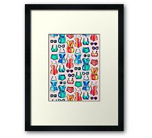 Sixties Swimsuits and Sunnies on blush pink Framed Print