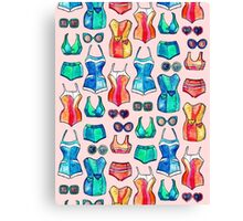Sixties Swimsuits and Sunnies on blush pink Canvas Print