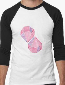Simple Pink Diamond Mosaic Men's Baseball ¾ T-Shirt