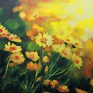Daisies in the Sun landscape Flower painting by Samuel Durkin by Samuel Durkin