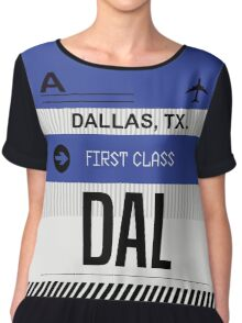 Dallas Texas DAL code Airport Luggage Tag graphic Chiffon Top