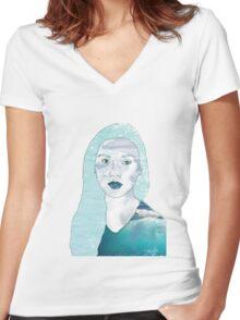 Ocean Portrait Women's Fitted V-Neck T-Shirt
