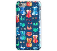 Sixties Swimsuits and Sunnies on dark blue iPhone Case/Skin
