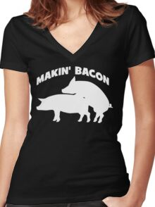 Makin' Bacon Women's Fitted V-Neck T-Shirt