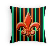 Fleur de leis with stripes green, orange, and black Throw Pillow