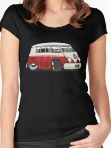 VW T1 Microbus cartoon red Women's Fitted Scoop T-Shirt
