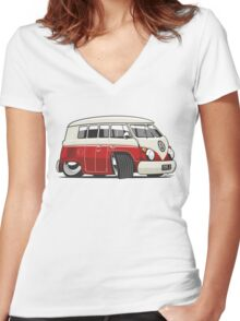 VW T1 Microbus cartoon red Women's Fitted V-Neck T-Shirt
