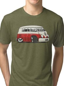 VW T1 Microbus cartoon red Tri-blend T-Shirt