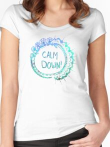 Calm Down (in blue swirl) Women's Fitted Scoop T-Shirt