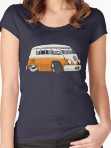 VW T1 Microbus cartoon orange Women's Fitted Scoop T-Shirt
